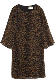 Leopard-print silk-chiffon mini dress