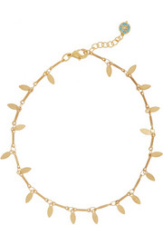 Leaf Eye gold-plated cubic zirconia anklet