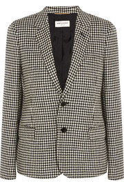 Leather-trimmed houndstooth wool-tweed blazer