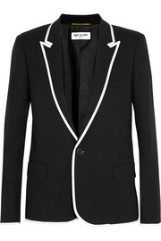 Saint Laurent Grosgrain-trimmed wool-crepe blazer