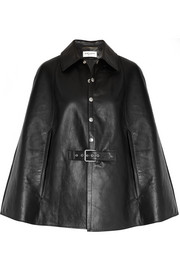 Belted leather cape