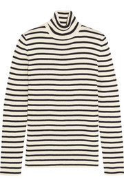 Striped cotton and wool-blend sweater