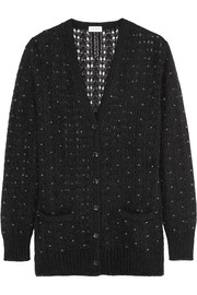Crystal-embellished mohair-blend cardigan