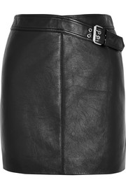 Saint Laurent Buckled leather mini skirt