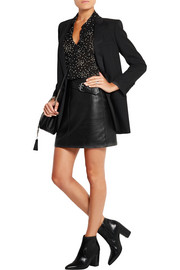 Buckled leather mini skirt