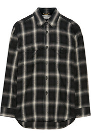 Plaid cotton-blend flannel shirt
