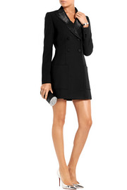 Angel faille-trimmed wool-gabardine mini dress