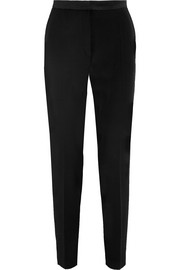 Antigone satin-trimmed wool-gabardine tapered pants