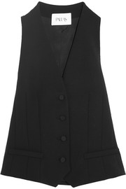 Hadar wool-gabardine and satin vest