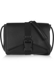 Buckled textured-leather shoulder bag