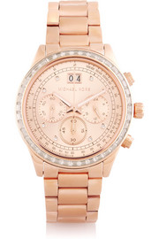 Michael Kors Brinkley crystal-embellished rose gold-tone watch
