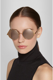 Cutler and Gross Round-frame gold-plated mirrored sunglasses