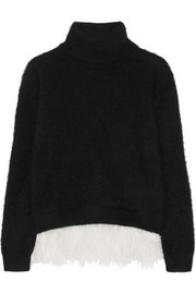 Feather-trimmed angora-blend turtleneck sweater