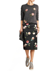 Floral-print duchesse-satin pencil skirt