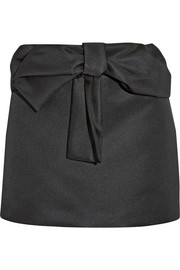 Bow-embellished taffeta mini skirt