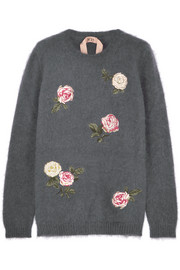 Embroidered angora-blend sweater