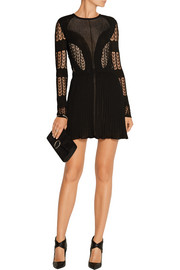 Elisa open-back lace and stretch-knit mini dress