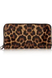 Panettone leopard-print patent-leather continental wallet