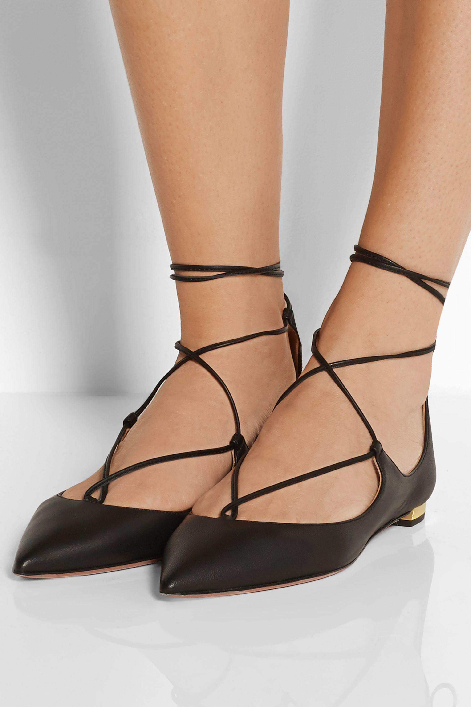 Aquazzura Christy leather point-toe flats