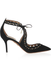 Theo studded suede pumps