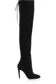 Corset lace-up suede over-the-knee boots