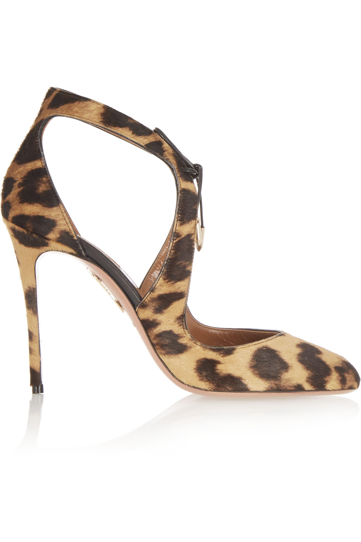Aquazzura Stella leopard-print calf hair pumps