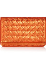Intrecciato metallic leather cardholder