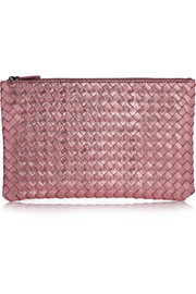 Intrecciato metallic leather pouch