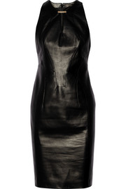Paneled leather dress
