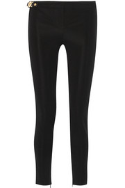 Leather-trimmed tech-jersey skinny pants