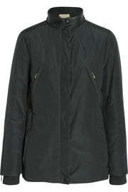 Leather-trimmed faille jacket