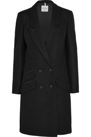 Leather-trimmed wool-blend felt coat