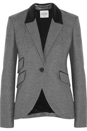 Leather-trimmed wool blazer