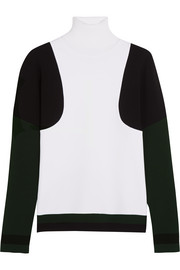Color-block stretch-knit turtleneck sweater