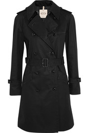 Leather-trimmed cotton-twill trench coat