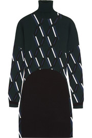 Intarsia stretch-knit dress