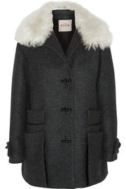 Montgomery shearling-trimmed wool-blend tweed coat