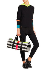 Striped neon-trimmed leather holdall