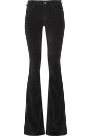 MiH Jeans Skinny Marrakesh mid-rise stretch-velvet flared pants