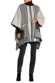 Oversized reversible wool-blend poncho