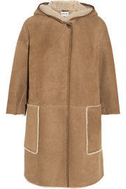 Bay Cape oversized hooded shearling coat