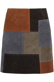 Patchwork suede mini skirt