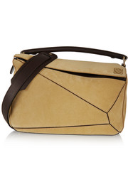 Puzzle small leather-trimmed suede shoulder bag