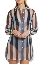 La Perla Seawind striped silk-organza shirt