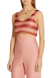 La Perla Seawind cropped striped silk-organza top