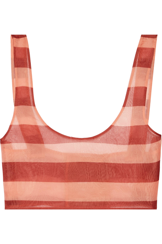 La Perla Seawind cropped striped silk-organza top