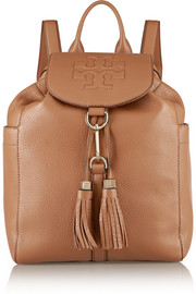 Thea tasseled textured-leather backpack