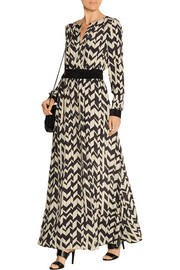 Satin-paneled printed chiffon maxi dress