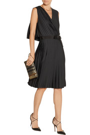 Pleated washed-satin dress