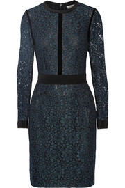 Velvet and silk crepe-trimmed corded lace dress